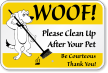 Pick Up Dog Poop Sign