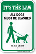Dog Leash Sign For District of Columbia