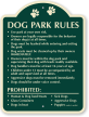 Dog Park Rules Signature Sign, 24 in. x 18 in.
