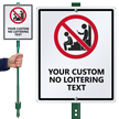 Custom No Loitering LawnBoss® Sign & Stake Kit