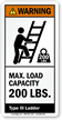 ANSI Warning Maximum Capacity Label